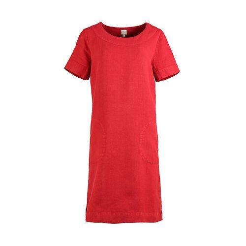 Deerberg Damen Leinen-Kleid Maxime rot - auch in Übergrößen