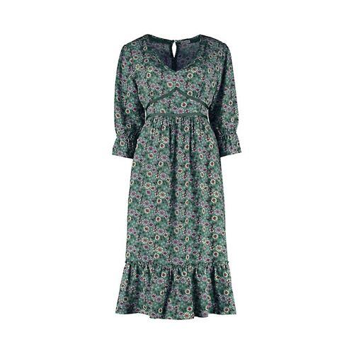 Deerberg Damen Druck-Kleid Neta grün - auch in Übergrößen