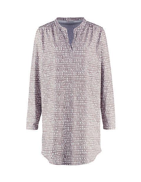 Deerberg Damen Jersey-Kleid langarm Lahja taupe-bedruckt - auch in Übergrößen