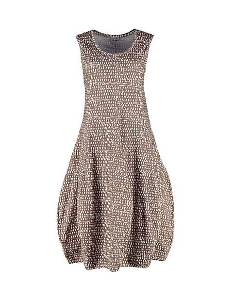 Deerberg Damen Jersey-Kleid ärmellos Algea taupe-bedruckt - auch in Übergrößen