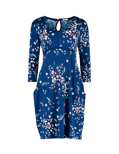 Deerberg Damen Jersey-Kleid Nadescha marine-bedruckt - auch in Übergrößen