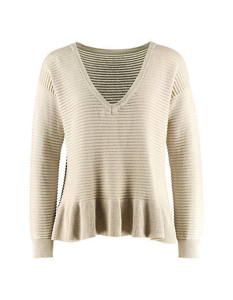 Deerberg Damen Baumwoll-Pullover Nadda stein Sweatshirt - auch in Übergrößen