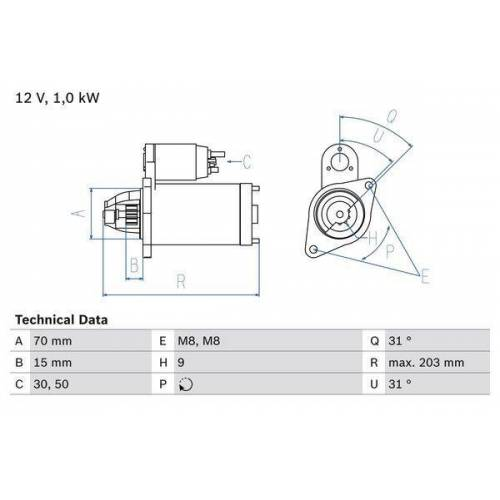 Bosch Anlasser SMART 0 986 019 940 0051513801,005151380180,6601510101  660151010180,A0001477V006,A0051513801,A005151380180,A6601510101,A660151010180
