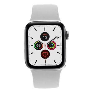 Apple Watch Series 5 Edelstahlgehäuse silber 40mm mit Sportarmband weiß (GPS + Cellular) silber refurbished