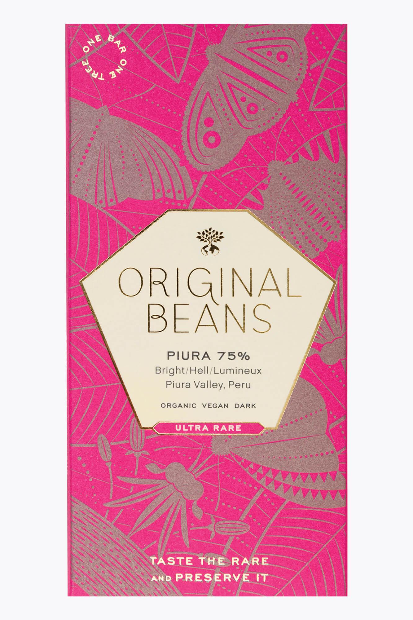 Original Beans Piura Porcelana 75% (Bio) Tal - Peru 70g Tafel
