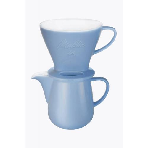 Melitta® Bundle Kaffeefilter Porzellan 1x4 + Kaffeekanne 0,6l Eisblau