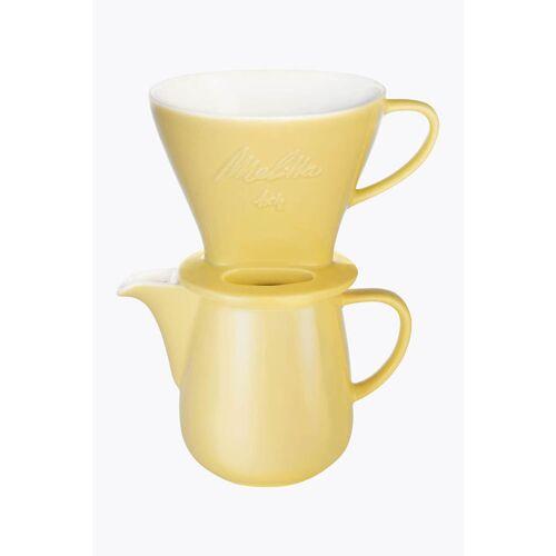Melitta® Bundle Kaffeefilter Porzellan 1x4 + Kaffeekanne 0,6l Gelb