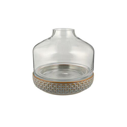 Höffner Vase mit Steinboden ¦ grau ¦ Glas , Steingut Ø: 22.5