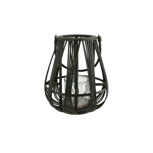 Höffner Windlicht Bambus ¦ schwarz ¦ Glas , Bambus