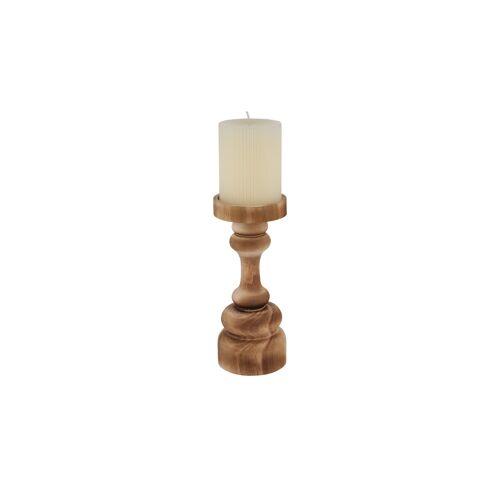 Höffner Kerzenhalter mit Stumpenkerze ¦ holzfarben ¦ Holz, Wachs Ø: 8.5