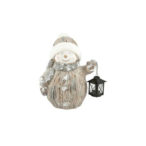 Höffner Dekofigur mit Teelichthalter  Schneemann ¦ braun ¦ Metall, Glas , Mag