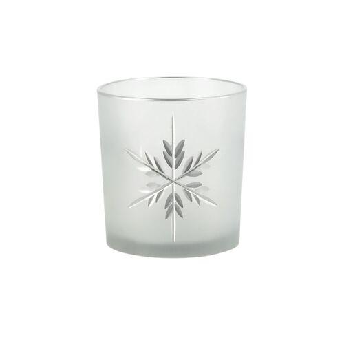 Höffner Teelichthalter  Eiskristall ¦ weiß ¦ Glas  ¦ Maße (cm): H: 8 Ø: 7