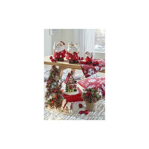 Höffner Teelichthalter Weihnachthaus ¦ weiß ¦ Keramik ¦ Maße (cm): B: 10,8 H: