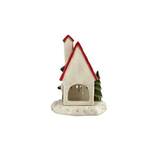 Höffner Teelichthalter Weihnachtshaus ¦ rot ¦ Dolomite ¦ Maße (cm): B: 14 H: