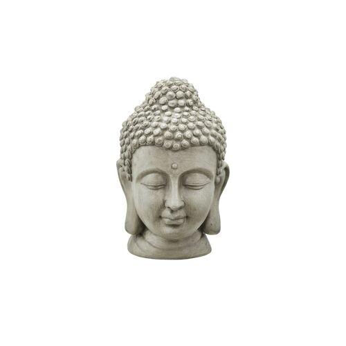 Höffner Buddhakopf ¦ grau ¦ Magnesia ¦ Maße (cm): B: 16,5 H: 25,5 T: 16,5