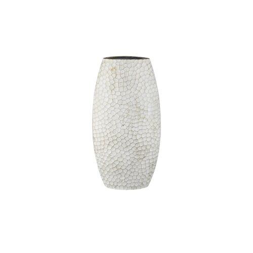 Höffner Vase ¦ weiß ¦ Metall