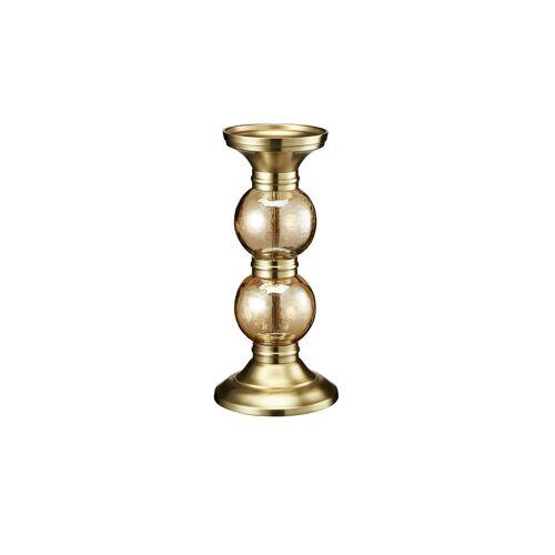 Höffner Kerzenständer ¦ gold ¦ Glas , Aluminum, EdelstahlØ: 14