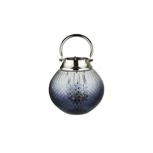 Höffner Windlicht ¦ blau ¦ Aluminum, Glas , EdelstahlØ: 20