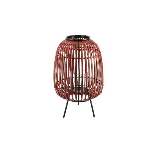 Höffner Windlicht ¦ rot ¦ Bambus, Metall, Glas  ¦ Maße (cm): H: 40 Ø: 25