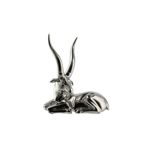 Höffner Figur Antilope ¦ silber ¦ Porzellan