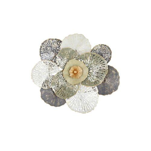 Höffner Wanddekoration  Blume ¦ grau ¦ Metall ¦ Maße (cm): B: 61 H: 66