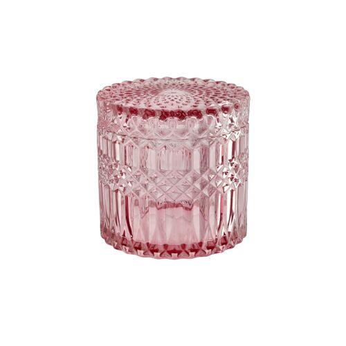Höffner Aufbewahrungsdose mit Deckel ¦ rosa/pink ¦ Glas Ø: 10.8