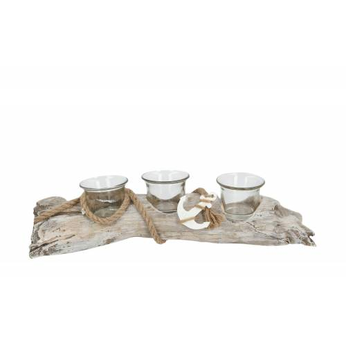 Höffner Teelichthalter  Treibholz ¦ holzfarben ¦ Glas , Holz ¦ Maße (cm): B: