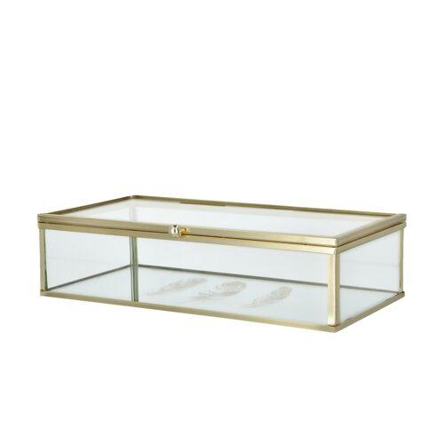 Höffner Aufbewahrungsbox ¦ gold ¦ Glas , Metall
