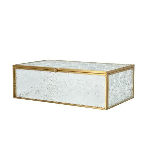 Höffner Aufbewahrungsbox ¦ gold ¦ Metall, Glas