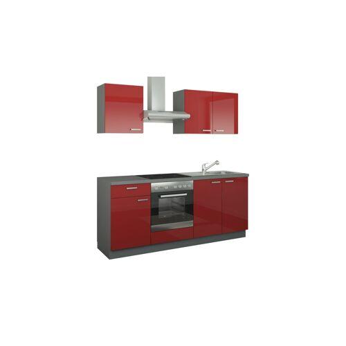 Höffner Küchenzeile mit Elektrogeräten  Binz ¦ rot