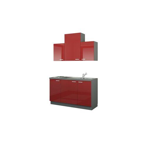 Höffner Küchenzeile mit Elektrogeräten  Aue ¦ rot ¦ Maße (cm): B: 150