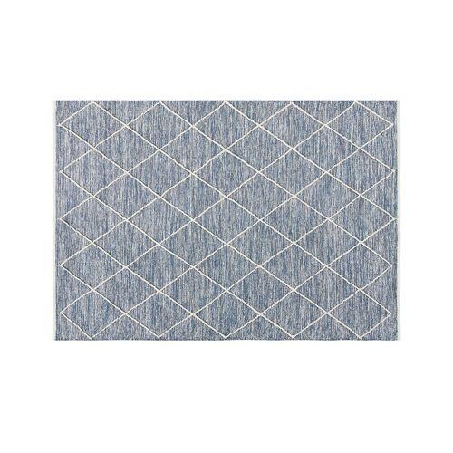 Höffner Handwebteppich  Pantin ¦ blau ¦ 100 % Baumwolle, Baumwolle ¦ Maße (cm