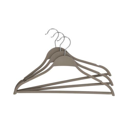 KHG Kleiderbügel, 3er-Set ¦ grau ¦ Kunststoff, Metall