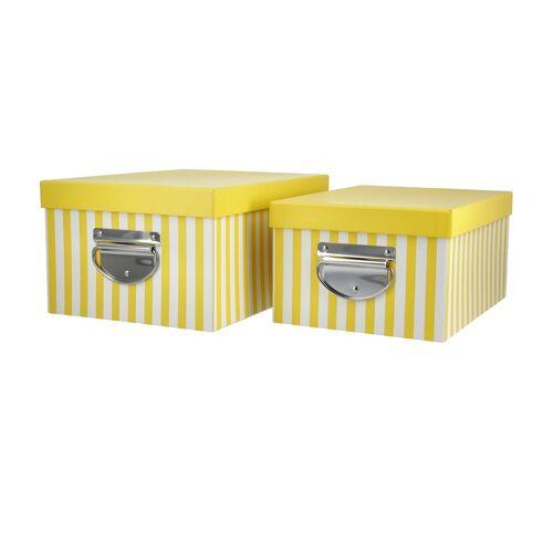 Höffner Aufbewahrungsbox, 2er-Set ¦ gelb ¦ Metall, Papier ¦ Maße (cm): B: 20