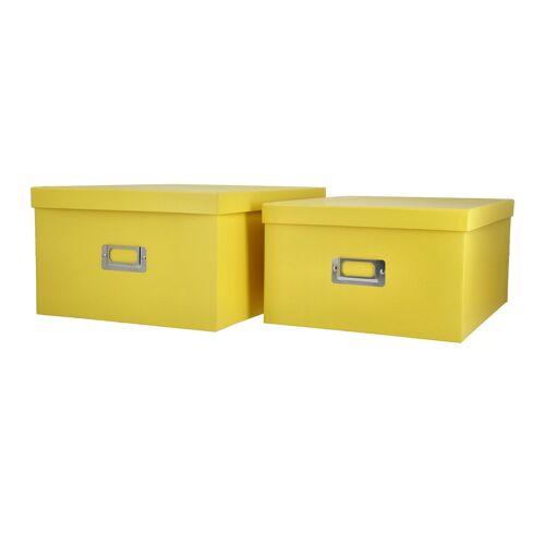 Höffner Aufbewahrungsbox, 2er Set ¦ gelb ¦ Papier, Metall ¦ Maße (cm): B: 28