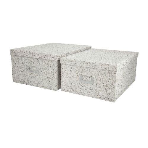 Höffner Aufbewahrungsboxen, 2er-Set ¦ weiß ¦ Metall, Papier ¦ Maße (cm): B: 2