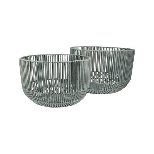 Höffner Aufbewahrungskörbe, 2er-Set ¦ grau ¦ Metall, Polypropylen ¦ Maße (cm)