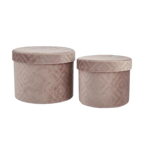 Höffner Aufbewahrungsbox, 2er-Set ¦ rosa/pink ¦ Karton, SamtØ: 22