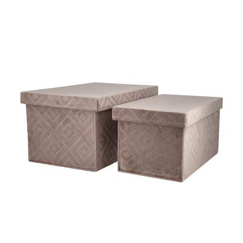 Höffner Aufbewahrungsboxen, 2er-Set ¦ rosa/pink ¦ Pappe, Samt