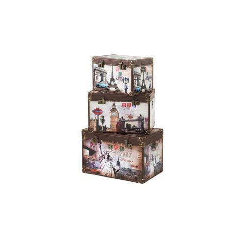 Höffner Aufbewahrungsboxen, 3er-Set   Citys ¦ mehrfarbig ¦ Maße (cm): B: 70 H