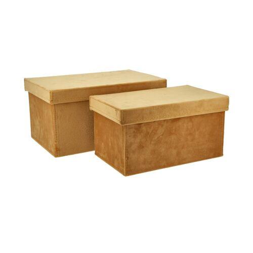Höffner Aufbewahrungsboxen, 2er-Set ¦ gelb ¦ Samt, Pappe ¦ Maße (cm): B: 31 H