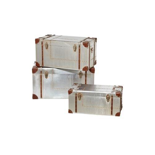 Höffner 3er-Set Aufbewahrungsboxen  Rimini ¦ silber ¦ Maße (cm): B: 82 H: 47