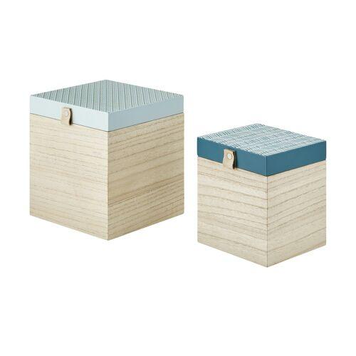 Höffner Aufbewahrungsboxen, 2er-Set ¦ blau ¦ MDF ¦ Maße (cm): B: 18 H: 20 T: