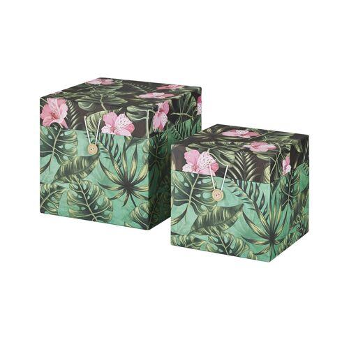 Höffner Aufbewahrungsboxen, 2er-Set ¦ mehrfarbig ¦ Papier, Pappe ¦ Maße (cm):