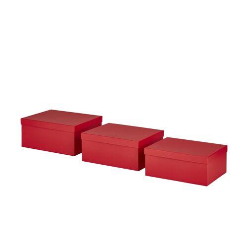 Höffner Aufbewahrungsboxen, 3er-Set ¦ rot ¦ Pappe, Papier ¦ Maße (cm): B: 30