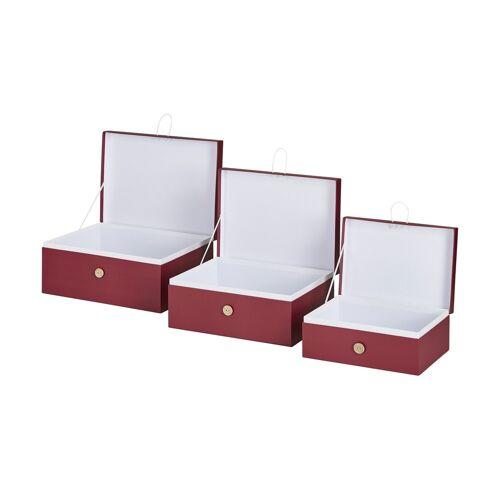 Höffner Aufbewahrungsboxen, 3er-Set ¦ rot ¦ Papier
