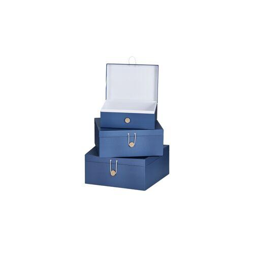 Höffner Aufbewahrungsboxen, 3er-Set ¦ blau ¦ Papier ¦ Maße (cm): B: 33,2 H: 1
