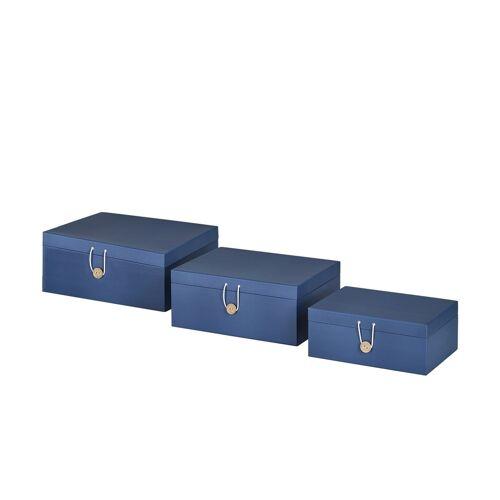 Höffner Aufbewahrungsboxen, 3er-Set ¦ blau ¦ Papier