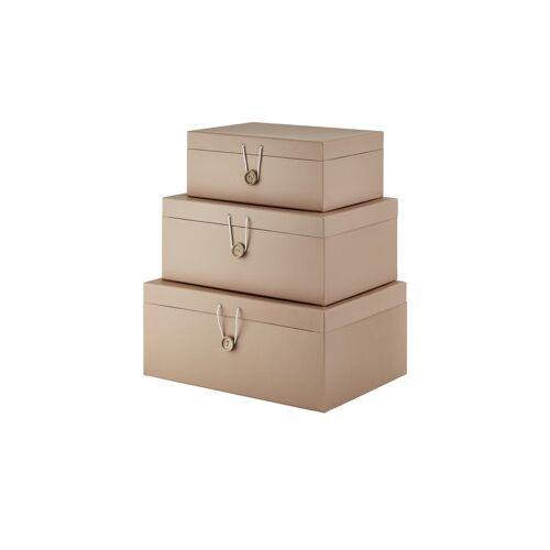 Höffner Aufbewahrungsboxen, 3er-Set ¦ beige ¦ Papier ¦ Maße (cm): B: 33,2 H: