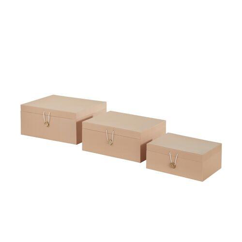Höffner Aufbewahrungsboxen, 3er-Set ¦ beige ¦ Papier